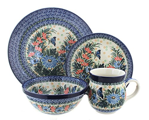 Blue Rose Polish Pottery Kristina 4 Piece Place Setting