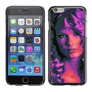 CASEX Cases / Apple Iphone 6 / Pop Art Woman - Pink Neon # / Delgado Negro Plástico caso cubierta Shell Armor Funda Case Cover Slim Armor Defender