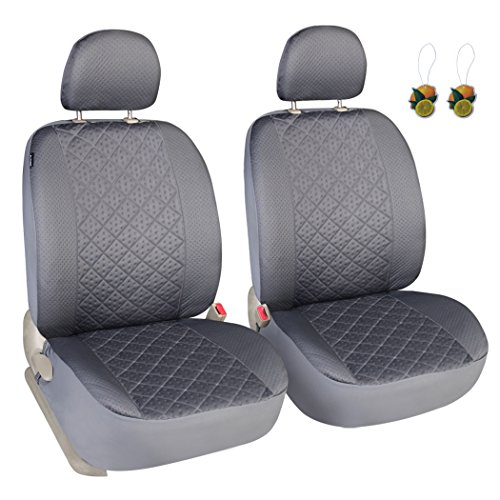 Leader Accessories Auto Universal Car Truck Seat Covers 2 Fronts Grey - Diamond Stitch Design Low (Back Universal Seat Cover)