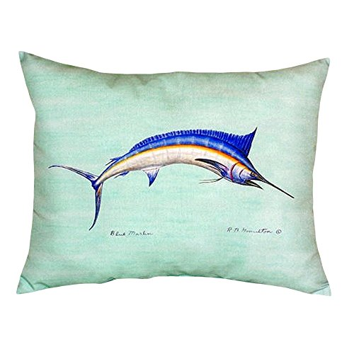(Betsy Drake NC015C Blue Marlin - Teal No Cord Pillow, 16