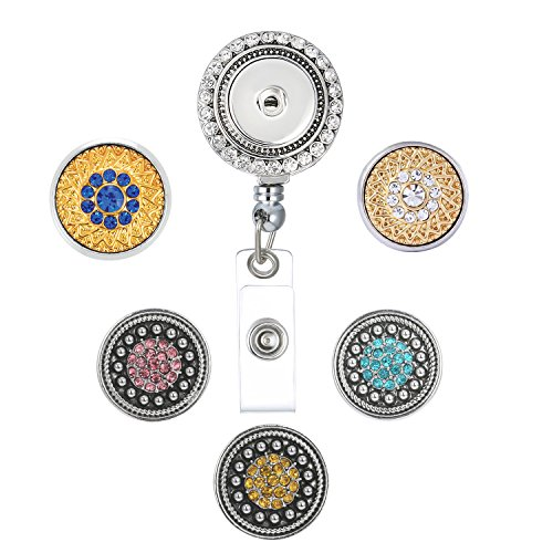 Retractable Badge Reel Holder with Clip, 27 inch Retractable Cord, with 5pcs DIY Snap Buttons (Cord Button Reel)