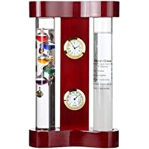 Lily's Home Galileo Weather Station with Galileo Thermometer, Admiral Fitzroy Storm Glass, a Precision Quartz Clock and Hygrometer