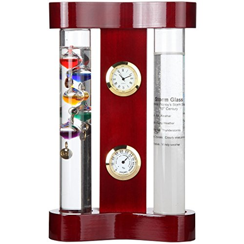 Lily's Home Analog Weather Station, with Galileo Thermometer, a Precision Quartz Clock, Analog Hygrometer, and Fitzroy Storm Glass Weather Predictor, 5 Multi-Colored Spheres (4.25 in x 5 in) (Regulator Clock Glass)