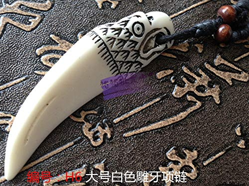 imitation yak bone necklace pendant chain men women carving special wholesale 2018 jewelry (h6 with rope ()