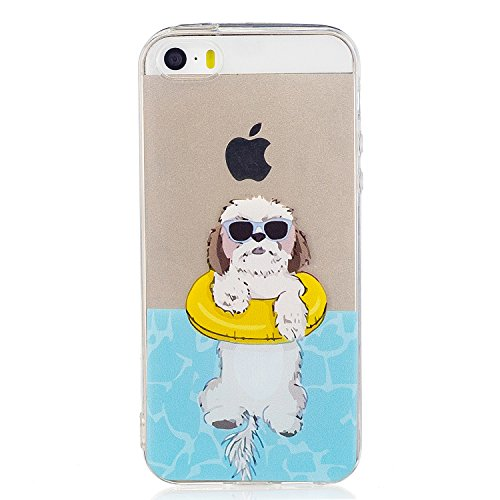iPhone 5/5S Case Cover,Ultra Thin Slim protective Clear Soft TPU Silicone Crystal (iPhone 5/5S, dog-white)