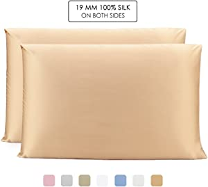 OLESILK 100% Mulbery Silk Pillowcase 2 Pack with Hidden Zipper for Hair and Skin Beauty,Both Sides 19mm Charmeuse -Gold, Queen