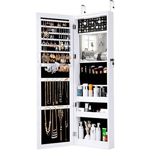 Zmsdt European Style Full-Length Mirror Cabinet Dressing Mirror Jewelry Cabinet Wall-Mounted Fitting Mirror Storage ()