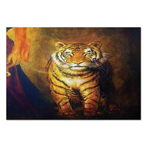 Tigers Neon Clock - Large Wall Mural Sticker [ Safari Decor,Tiger on a Leash and Woman Walking Hand Dark Colors Oil Painting Effect Stripes, Self-Adhesive Vinyl Wallpaper/Removable Modern Decorating Wall Art