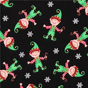 black christmas elf christmas flannel fabric by timeless treasures per 05 yard multiples