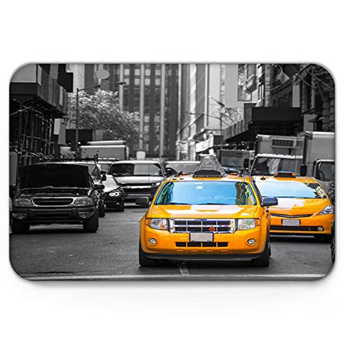 Libaoge Cute Doormat, Black and Yellow New York City Taxi USA Street Indoor Non Slip Absorbent Door Mat Front Door Kitchen Bath Mat 18x30in