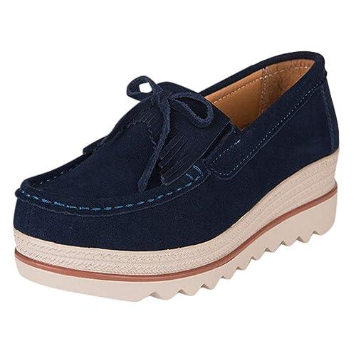 LHWY Zapatillas Mocasines de Deportes Calzado Deportivo Casual para Mujer Transpirable con Zapatillas de Deporte Zapatos con Borla y Suela Gruesa: ...