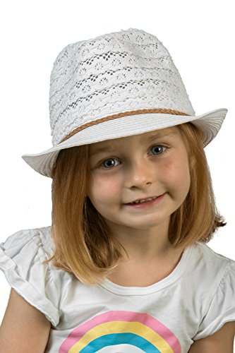 Funky Junque H-6044-25 Children's Eyelet Lace Fabric Fedora: - Hat White Pinstriped Fedora