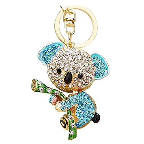 Bear Enamel Key Ring - preliked Cute Koala Keychain Rhinestone Inlaid Pendant Car Key Ring Holder Bag Charm (Blue)