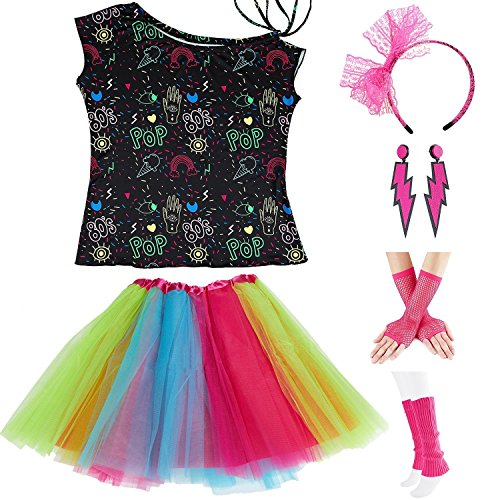 Womens 80s Accessories, I Love The 80's / 80s Pop/Sexy Lips Shoulder T-Shirt Outfit/Tutu Skirt/Neon Fanny Packs for 1980s Party Costume,S1,Pop,M