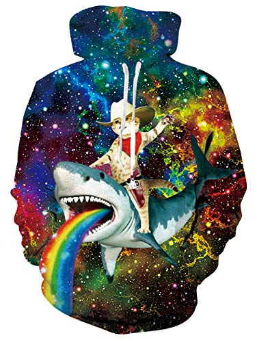 RAISEVERN Unisex 3D Print Fleece Hoodies Pullover Long Sleeve Hooded Sweatshirts