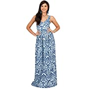 KOH KOH Plus Size Womens Long Sleeveless V-Neck Summer Flowy Cute Maternity Cocktail Sundress Pregnancy Damask Print Printed Boho Sexy Gown Gowns Maxi Dress Dresses, Navy Blue and White 3XL 22-24