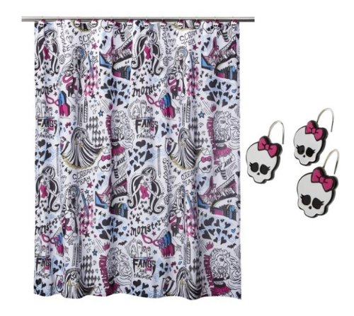 Monster High Shower Curtain and Shower Curtain Hooks (Monster High Rings)
