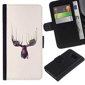 KingStore / Leather Etui en cuir / Samsung Galaxy S6 / Alces Antlers Acuarelas Amarillo