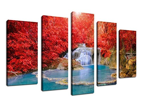 arteWOODS Wall Art Canvas Prints Red Tree Blue Waterfall Framed Ready to Hang 5 Piece Modern Artwork Contemporary Painting Landscape Forest Picture Canvas Art Decor for Bedroom Living Room Decoration