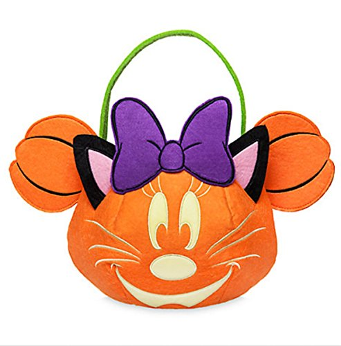 Disney Minnie Mouse Pumpkin Fabric Trick or Treat Halloween Glow Bucket -