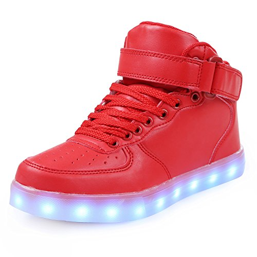 Price comparison product image Boys Girls High Top Light Up Shoes Kids Comfortable Fashion Sneakers With LED Lights Grow Up Sole Bottom, Red
