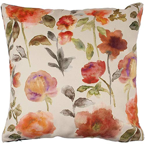 sh Watercolor Floral Euro Sham Pillow Cover   Soft Velvet, Rose Petal Poppy   24x24 Orange Decorative Zip Cushion Case   Shabby Chic Accent, Flower Farmhouse Decor ()