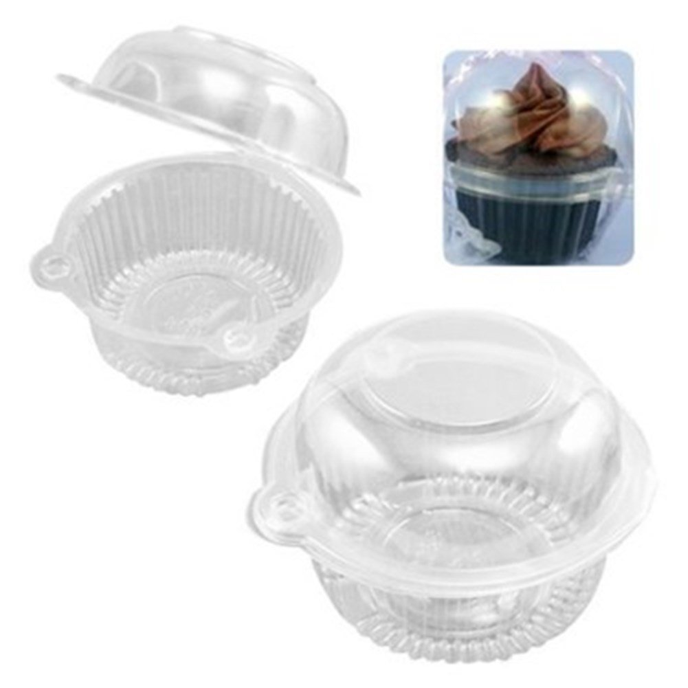 50 Individual Clear Plastic Single Cup Cake Muffin Case Pods Domes Boxes Large