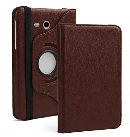 ST Creation 360 Degrees Rotating Stand PU Leather Smart Flip Case Cover for Samsung Galaxy Tab J Max 7″ inch(SM-T285, T280) Full Safety(Brown)
