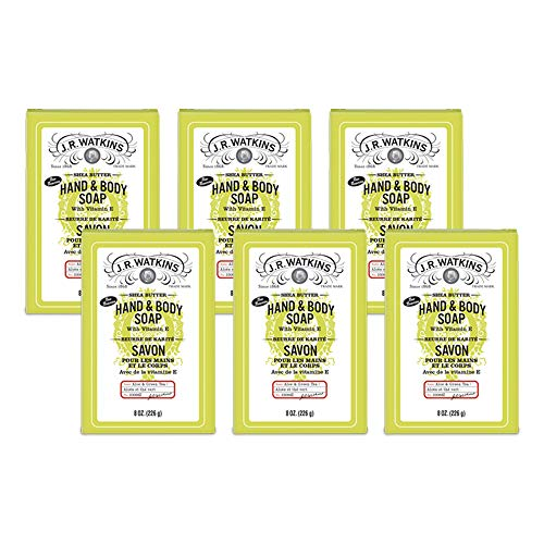 JR Watkins Natural Hand and Body Bar Soap, Moisturizing Bath and Shower Soap for Women and Men, Shea Butter, USA Made and Cruelty Free, 8 oz, Aloe & Green Tea, 6 Pack