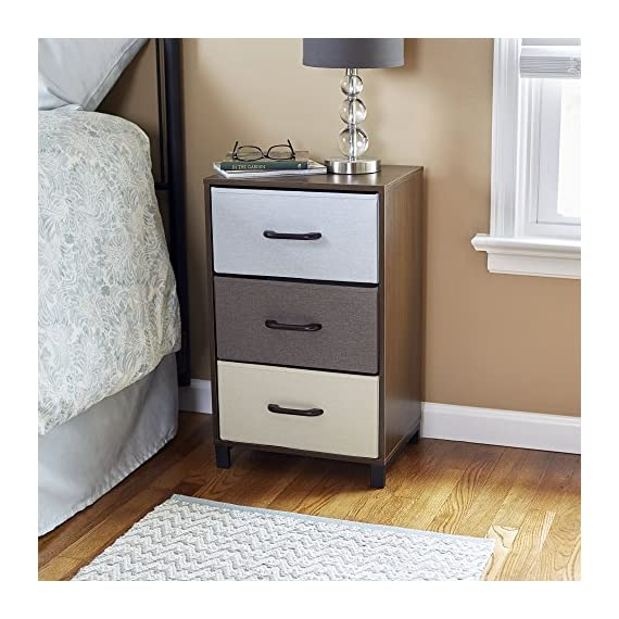 Household Essentials 8013-1 Wooden 3 Drawer Dresser | Storage Night Stand | Mahoganey - STORAGE CHEST with three functional fabric drawers in 3 colors perfect as an end table or nightstand RAISED STEEL FEET for extra stability and 3 pull out fabric storage drawers for lightweight storage WIRE FRAME CONSTRUCTION provides tracks and back brace for the drawer system creating stability and functionality - dressers-bedroom-furniture, bedroom-furniture, bedroom - 51xfZSPkf9L. SS570  -