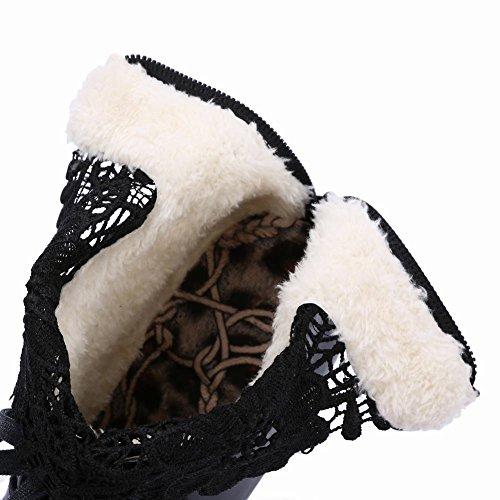 Mee Shoes Damen Reißverschluss Lace Blockabsatz Stiefel Schwarz