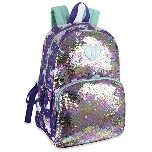 Madison & Dakota Reversible Glitter Sequin Backpacks for Girls and Women, with Padded Back and Adjustable Straps (Clouds) ()