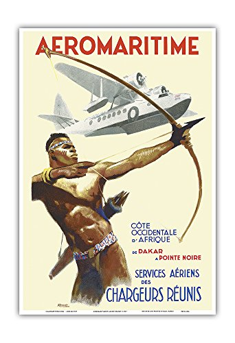 Pacifica Island Art Aeromaritime - West Coast of Africa, from Dakar, Senegal to Pointe Noire, Congo - Vintage Airline Travel Poster by Albert Brenet c.1937 - Master Art Print - 13in x 19in
