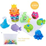 Glonova Bath Toy Set with Organizer, 6 Stacking Cups and 6 Squirting Toys Animals for Indoor Outdoor Beach Bathtub Fun Toys, 13 Pcs