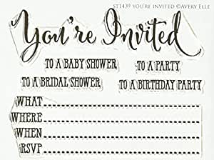 """Avery Elle You're Invited Stamp Set, 4 by 3"""", Clear"""