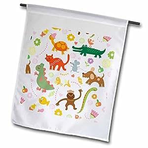 fl_53797_1 Sandy Mertens Children Designs - Cat, Dog, Mouse, Birds, Turtle, Alligator, Dinosaur, Monkey and Fish Pattern - Flags - 12 x 18 inch Garden Flag