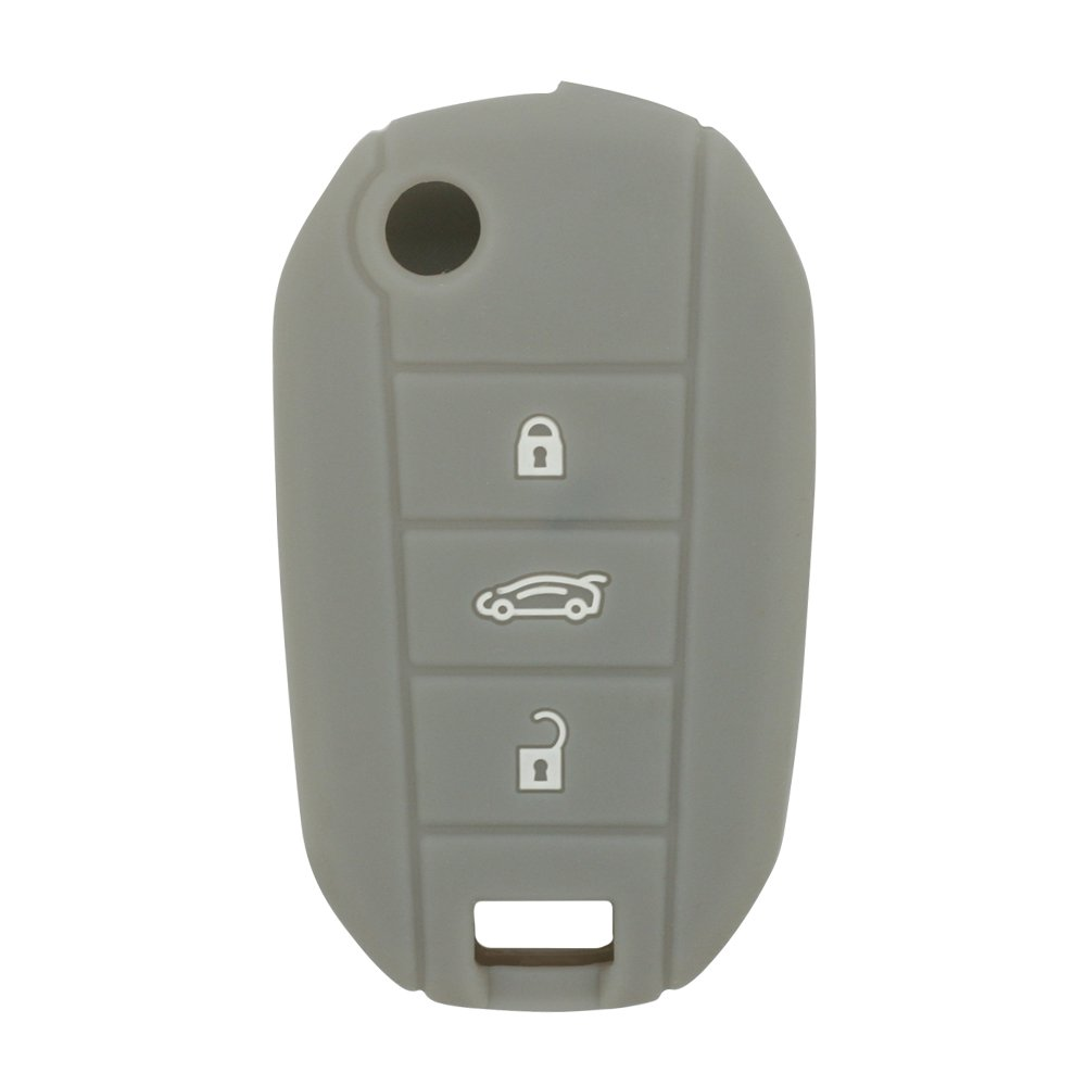 SEGADEN Silicone Cover Protector Case Skin Jacket fit for PEUGEOT CITROEN 3 Button Flip Remote Key Fob CV4300 Brown