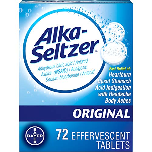 Alka-Seltzer Original Effervescent Tablets – Fast Relief of Heartburn, Upset Stomach, Acid Indigestion with Headache and…
