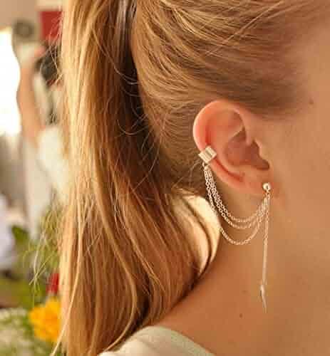 4596dd79e IrbingNii A Piece Gold Color Tassel Pierced Ear Cuff Screw Clip Earrings  Stud