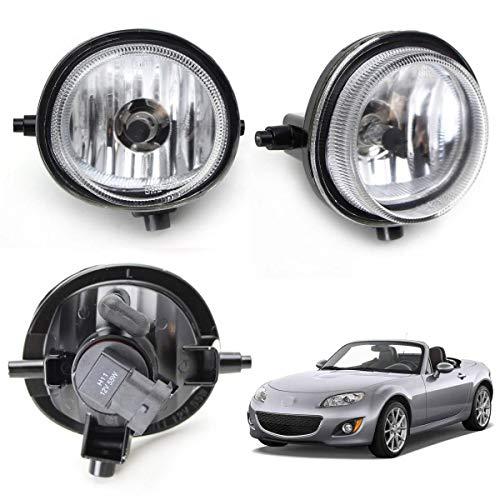iJDMTOY One Pair Fog Lights Foglamps w/Halogen Bulbs For Mazda 2 3 5 6 MPV MX-5 Miata CX-7 CX-9 (OEM #LE45-51-690C, LE46-51-680C)