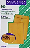 Quality Park Clasp 9 x 12 Inch 28lb Brown Kraft Envelopes 100 Count (37890)