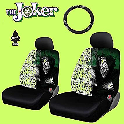 New Design 6 Pieces DC Comic Joker Car Seat Covers And Steering Wheel Cover Set With