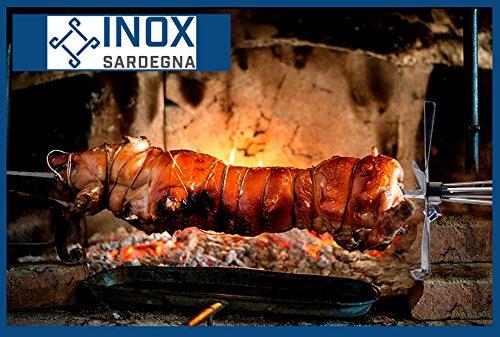 inox Spiedo sardo in Acciaio Cottura Diretta di Carne Pesce e Verdure 80 cm Piatto 5x20 mm