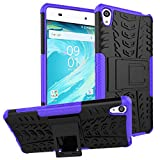 MOONCASE Xperia XA Case Built-in Kickstand Hybrid Armor Case Detachable 2 in 1 Shockproof Tough Rugged Dual-Layer Case Cover for Sony Xperia XA Purple