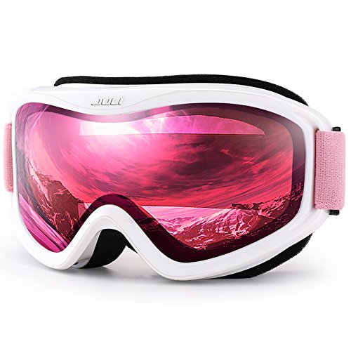 JULI OTG Ski Goggles-Over Glasses Ski/Snowboard Goggles for Men, Women & Youth - 100% UV Protection Anti-fog Dual Lens(White Frame+38% VLT Vermillion Red Len Pink Strap) (Bag Pink Snowboard)