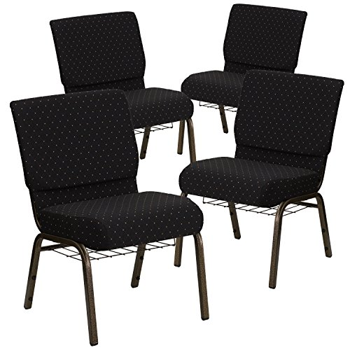 Flash Furniture 4 Pk. HERCULES Series 21''W Church Chair in Black Dot Patterned Fabric with Cup Book Rack - Gold Vein Frame