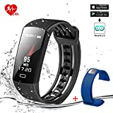 Smart Bracelet Smart Band Fitness Tracker Activity Tracker 24hours Continuous Heart Rate Monitor/Sleep Monitor/Calories Monitor IP67 Waterproof Pedometer USB Plug Charge With Replacement Band-Blue