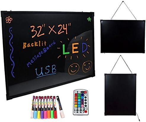 "32/""x24/"" Flashing Illuminated Erasable Neon LED Message Menu Sign Writing Board"