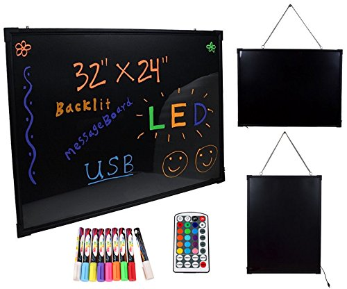 "32""x24"" Flashing Illuminated Erasable Neon LED Message Menu Sign Writing Board from New Unbrand"