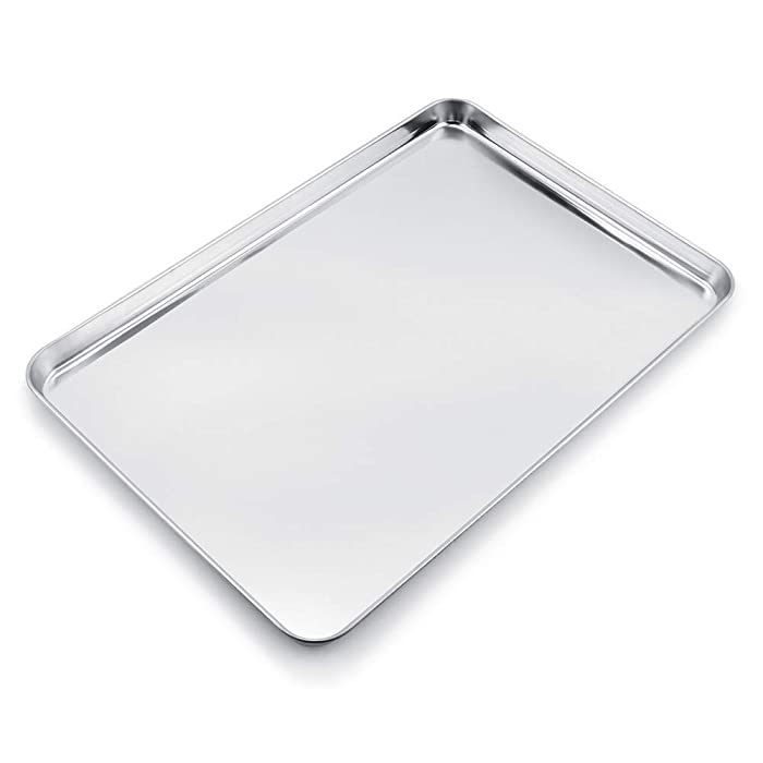 "Baking Sheet Stainless Steel Baking Tray Cookie Sheet Oven Pan (Rectangle Size 24"" x 16"" x 1 3/16"", Non Toxic & Healthy, Rust Free & Less Stick, Thick & Sturdy, Easy Clean & Dishwasher Safe)"